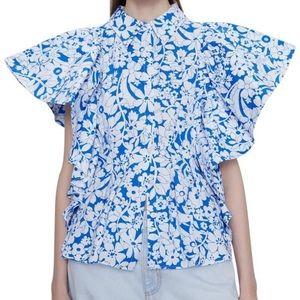 Zara floral poplin big ruffle sleeve blouse
